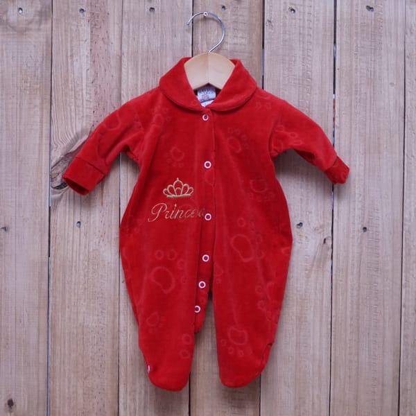 Macacão para Bebê Plush Bordado Princesa Vermelho