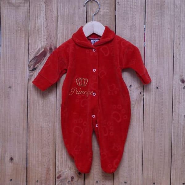 Macacão para Bebê Plush Bordado Principe Vermelho