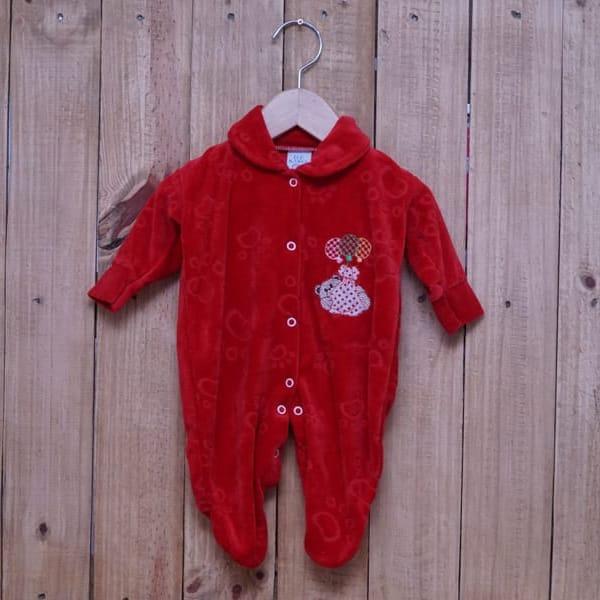 Macacão para Bebê Plush Bordado Ursinho com Balão Vermelho
