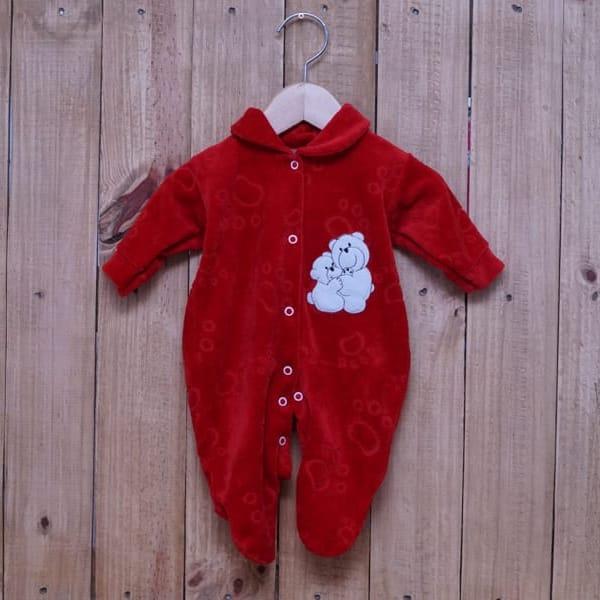 Macacão para Bebê Plush Bordado com Ursos Vermelho