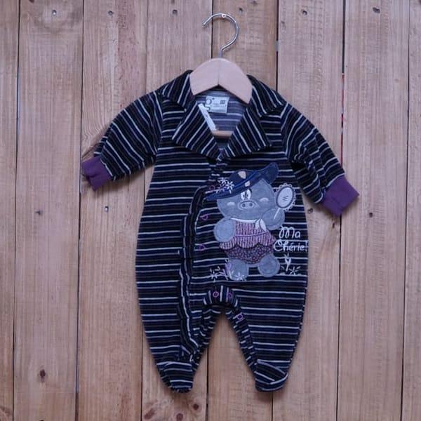 Macacão para Bebê Plush com Bordado e Listrado Ma Chérie