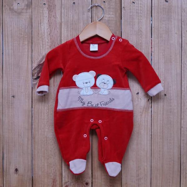 Macacão para Bebê Plush com Bordado Friends Vermelho