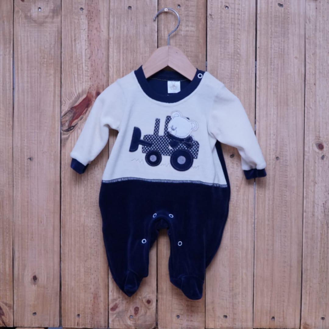 Macacão para Bebê Plush com Bordado Urso Marinho
