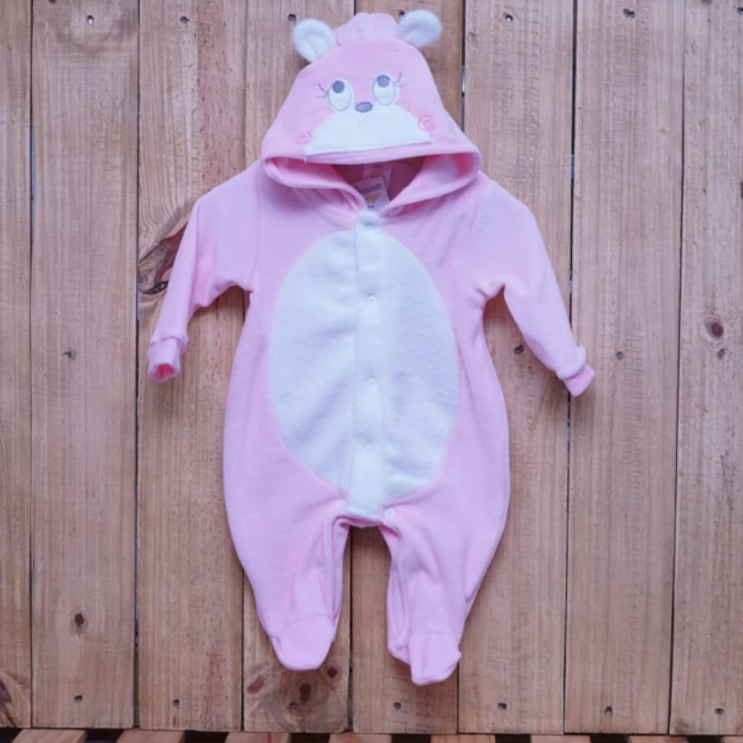 Macacão para Bebê Plush com Capuz Ursa Rosa