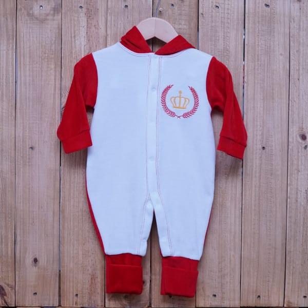Macacão para Bebê Plush com Capuz Branco com Vermelho
