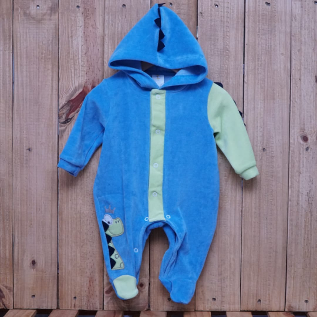 Macacão para Bebê Plush com Capuz Dinossauro Azul Escuro