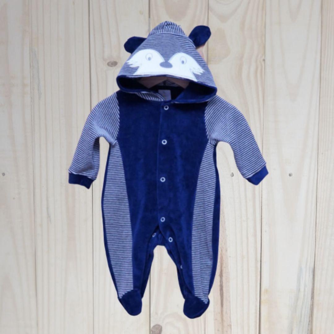 Macacão para Bebê Plush com Capuz Raposa Marinho