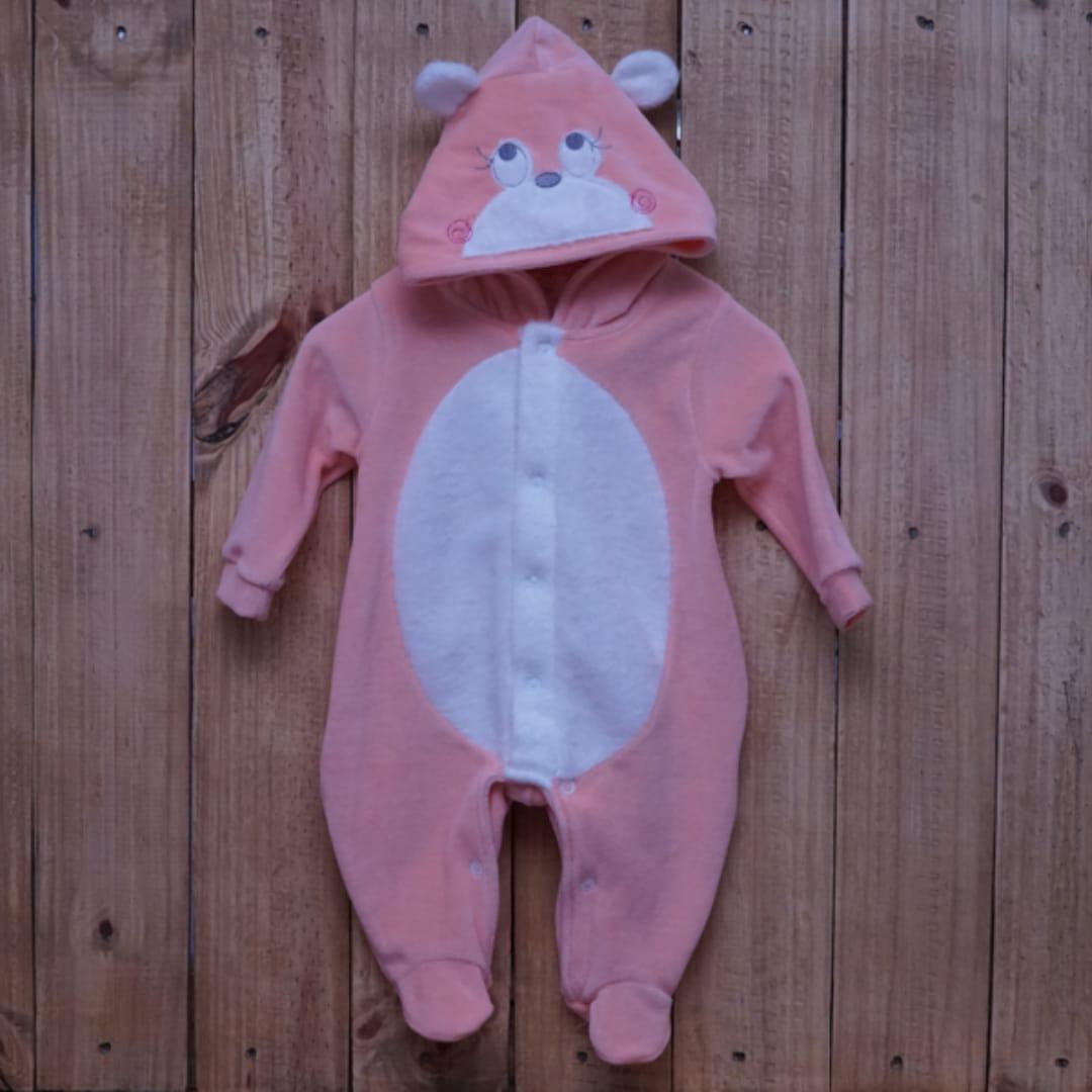Macacão para Bebê Plush com  Capuz Ursa