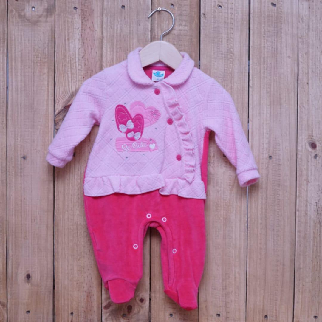 Macacão para Bebê Plush com Detalhe de  Bordado Pink
