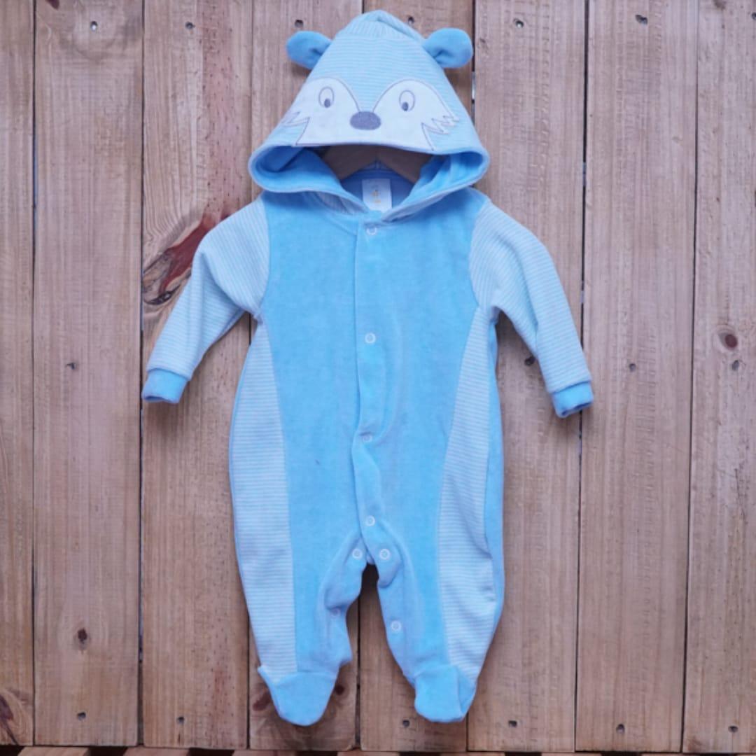 Macacão para Bebê Plush com Capuz Raposa Azul