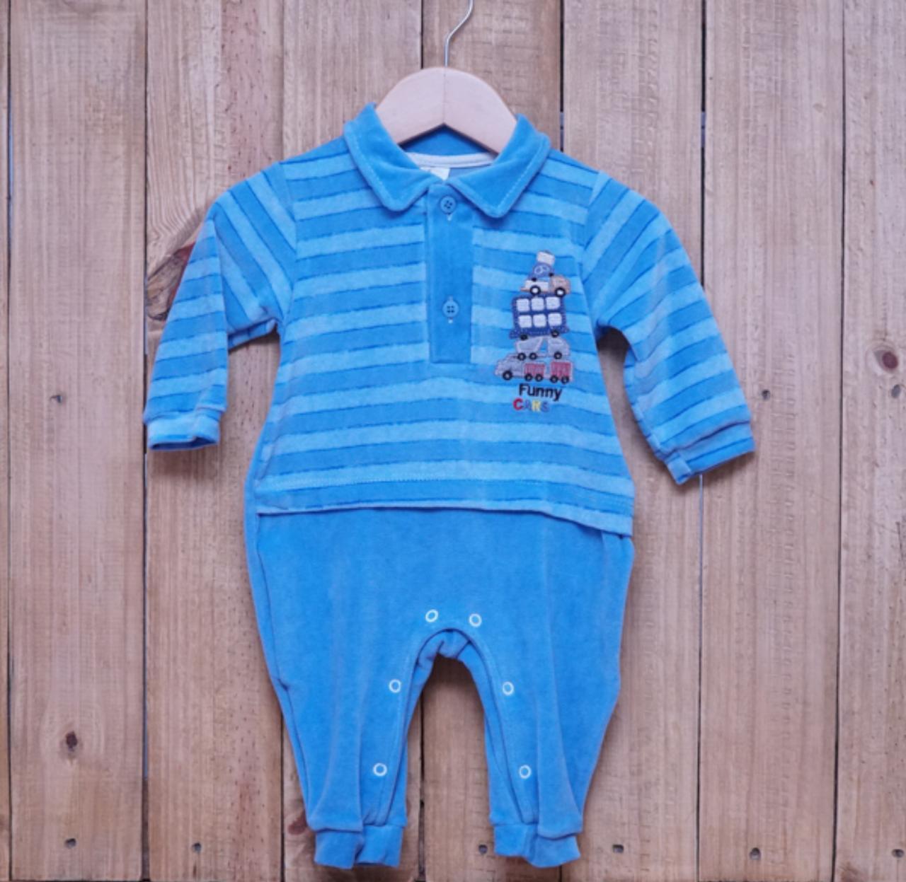 Macacão para Bebê Plush Bordado com Gola Polo Azul