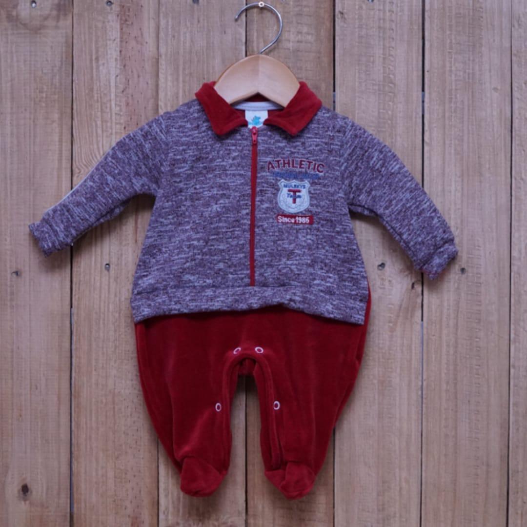Macacão para Bebê Plush com Gola Polo Bordado Vermelho
