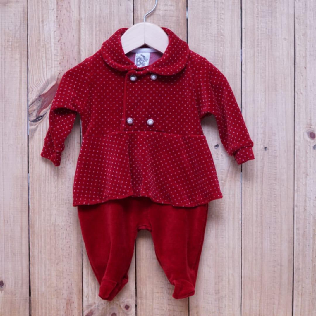 Macacão para Bebê Plush com Botões em Pérolas  Vermelho