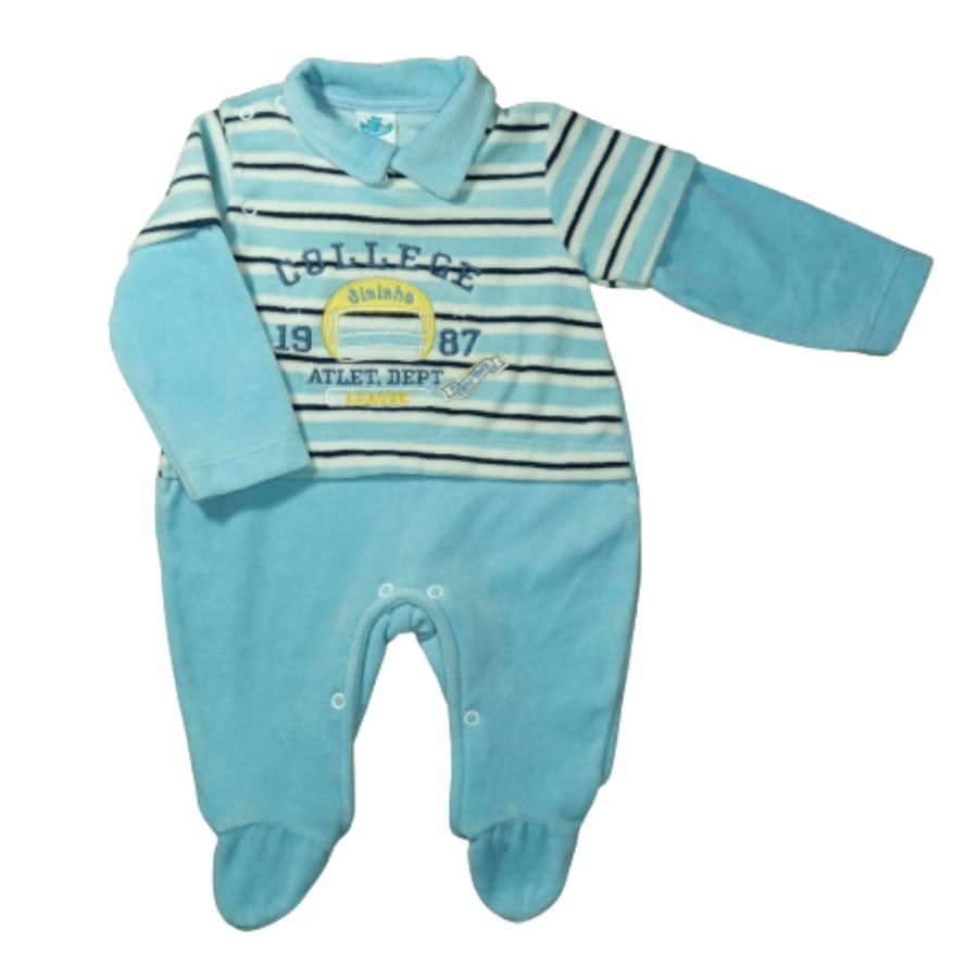 Macacão para Bebê Plush Gola Polo Bordado College
