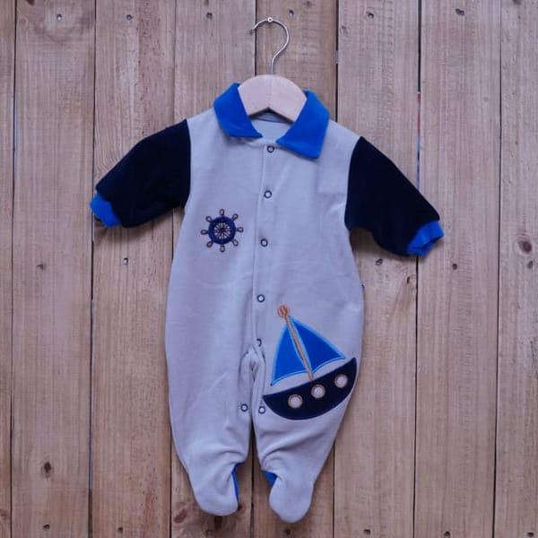 Macacão para Bebê Plush Marinheiro Bege com Azul