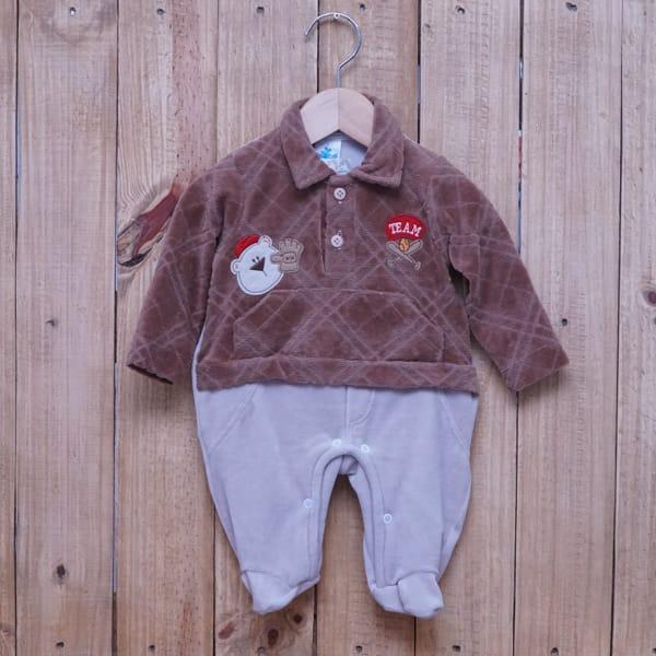 Macacão Para Bebê Plush Team Marrom