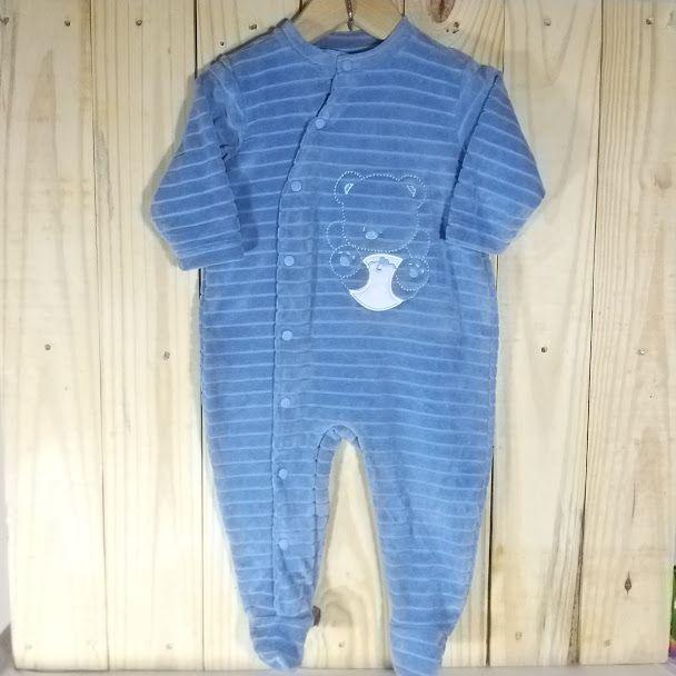Macacão para Bebê  Plush, Urso com Fralda Azul
