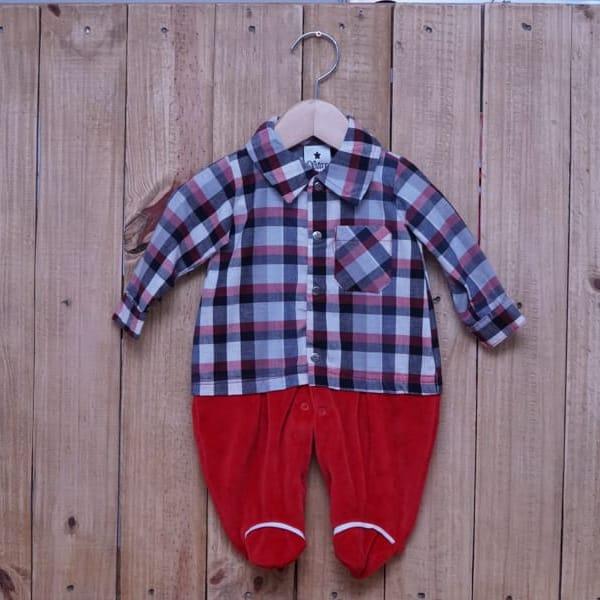 Macacão para Bebê Plush Xadrez Vermelho