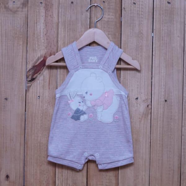 Macacão para Bebê Curto Regata Bordado Ursa e Coelhinha Listrado Rosa com Mescla