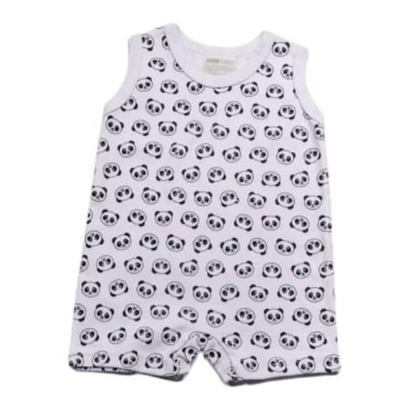 Macacão para Bebê Regata Minimalista Panda Branco