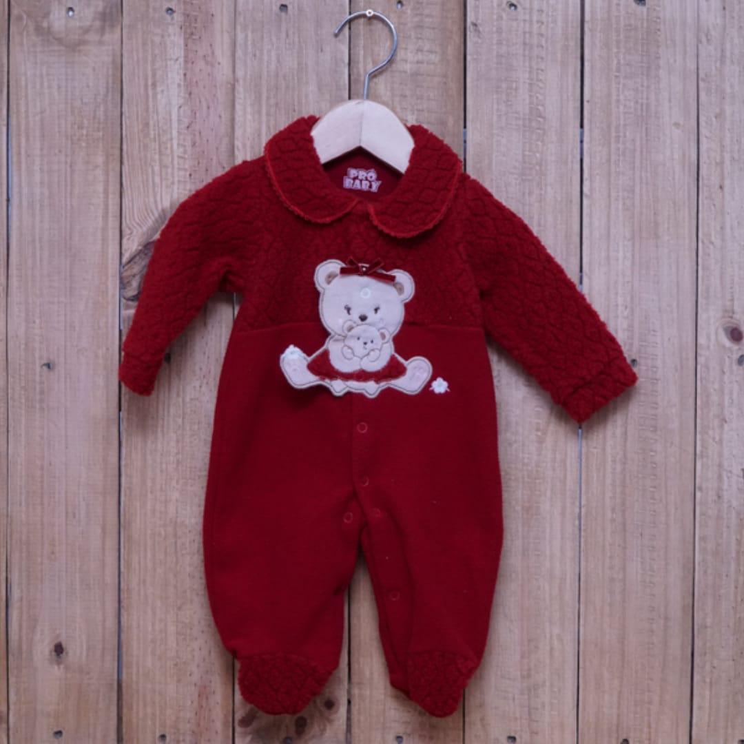 Macacão para Bebê Soft Bordado Vermelho