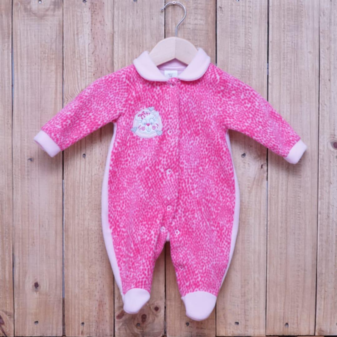 Macacão para Bebê Soft Bordado Rosa