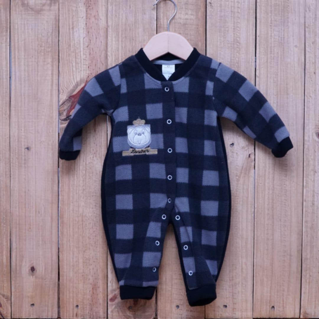 Macacão para Bebê Soft Bordado Urso Preto