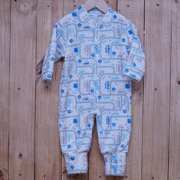 Macacão para Bebê  Soft com Pé Reversível Estampa de Carrinhos