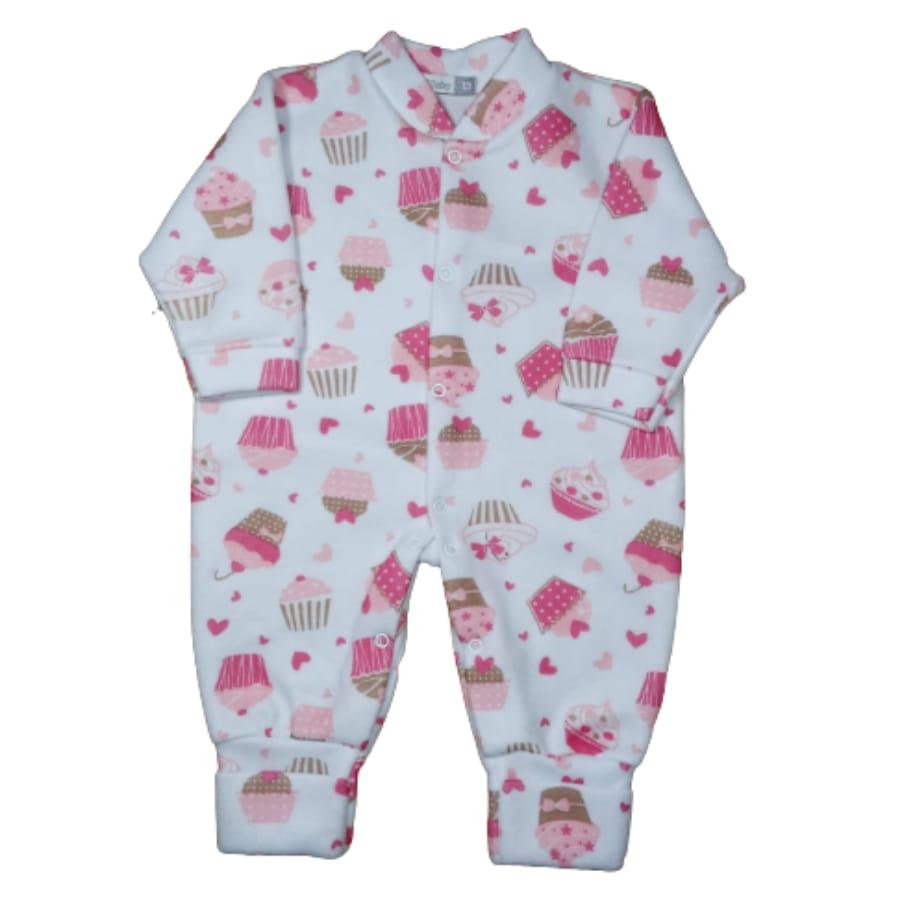 Macacão para Bebê Soft com Pé Reversível Estampado Cupcake