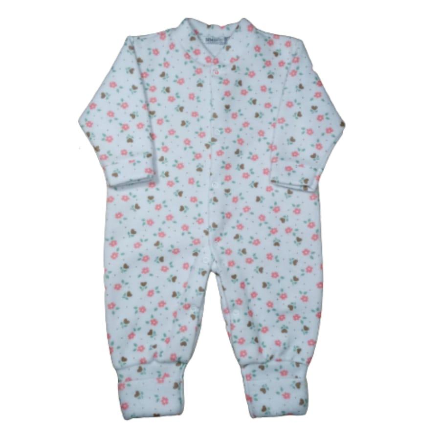 Macacão para Bebê Soft com Pé Reversível Estampado Flor