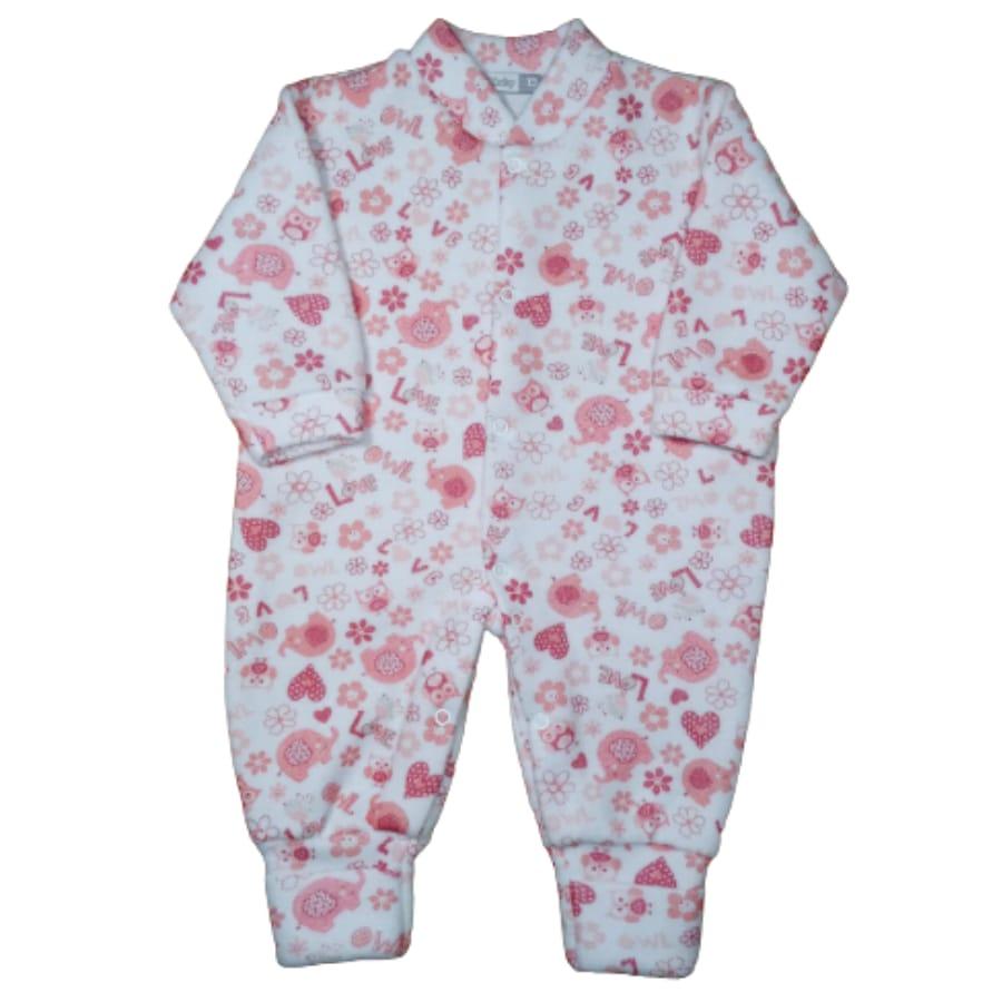 Macacão para Bebê Soft com Pé Reversível Estampado Florzinhas