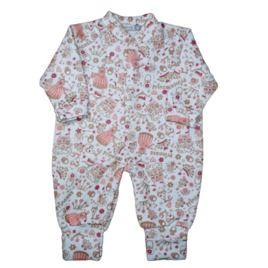 Macacão para Bebê Soft com Pé Reversível Estampado Menina