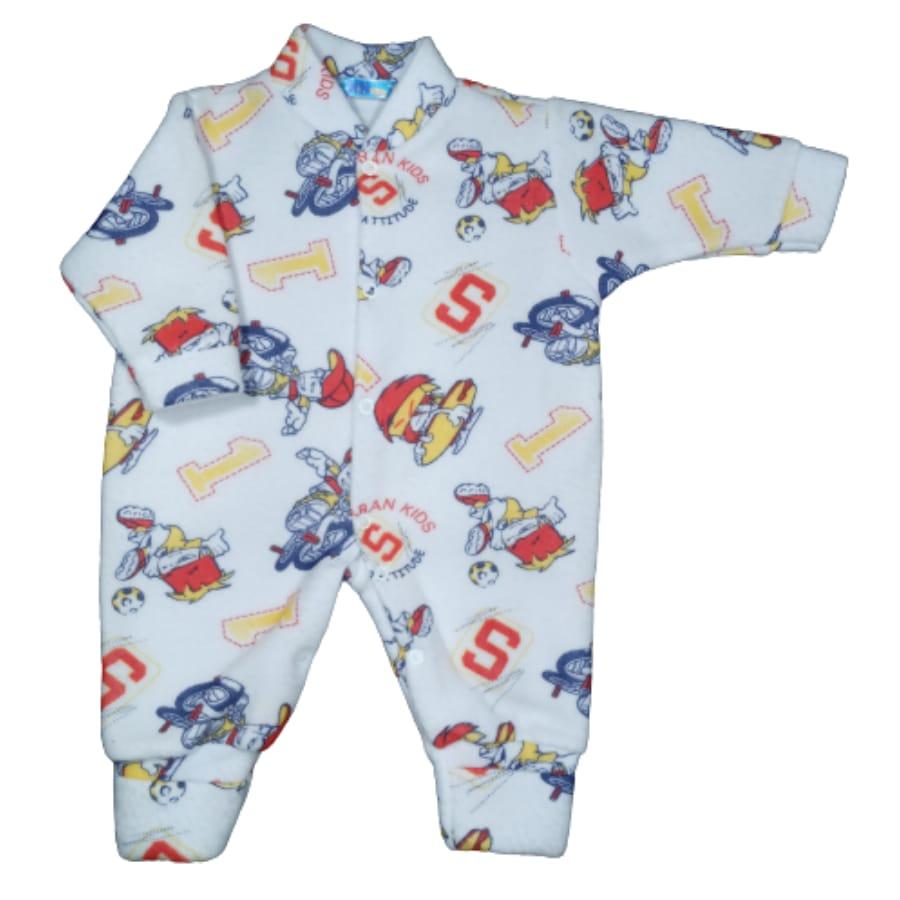 Macacão para Bebê Soft com Pé Reversível Estampado Menino