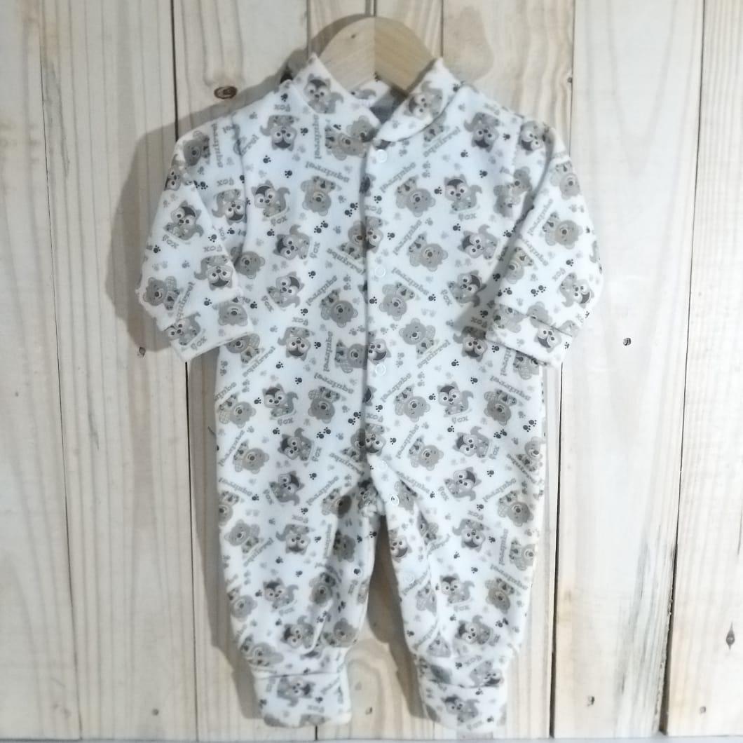 Macacão para Bebê  Soft com Pé Reversível Estampado Unissex