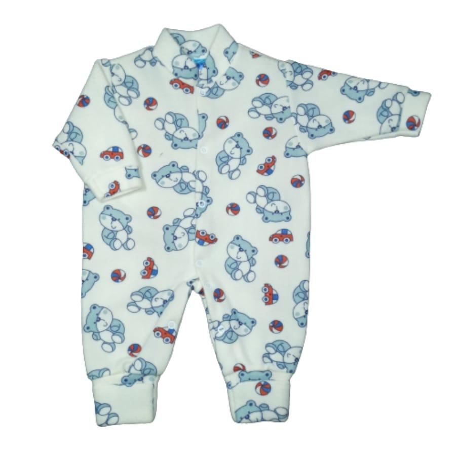 Macacão para Bebê Soft com Pé Reversível Estampado Urso