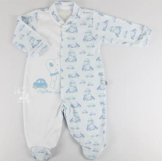 Macacão para Bebê Suedine Carrinho Azul