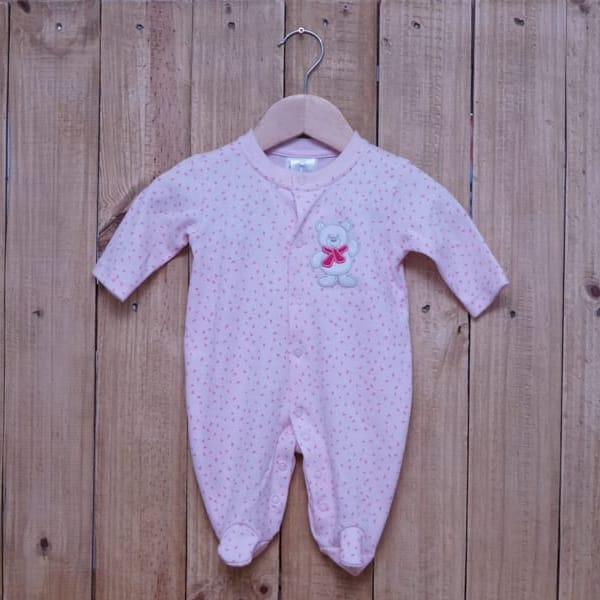 Macacão para Bebê Suedine Triângulo Rosa