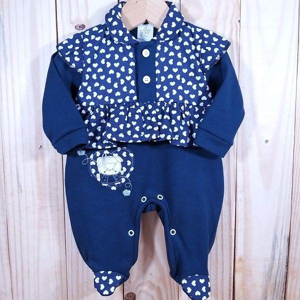 Macacão para Bebê com Detalhes de Coração Azul Marinho