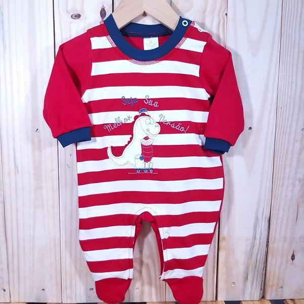 Macacão para Bebê Listrado com Bordado Dragão Vermelho