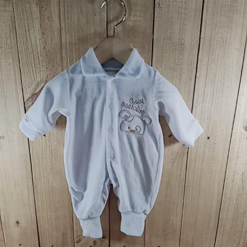Macacão Plush para Bebê com Bordado na Frente Coelhinho  e atrás  Branco Unissex