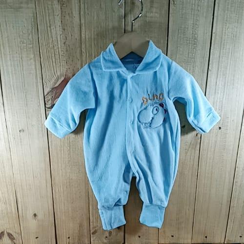 Macacão Plush para Bebê com Bordado na Frente Dino e atrás Azul Claro