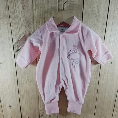 Macacão Plush para Bebê com Bordado na Frente Girafinha   e atrás  Rosa