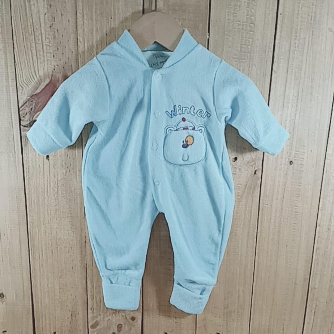 Macacão Plush para Bebê com Bordado Urso na Frente Azul Claro