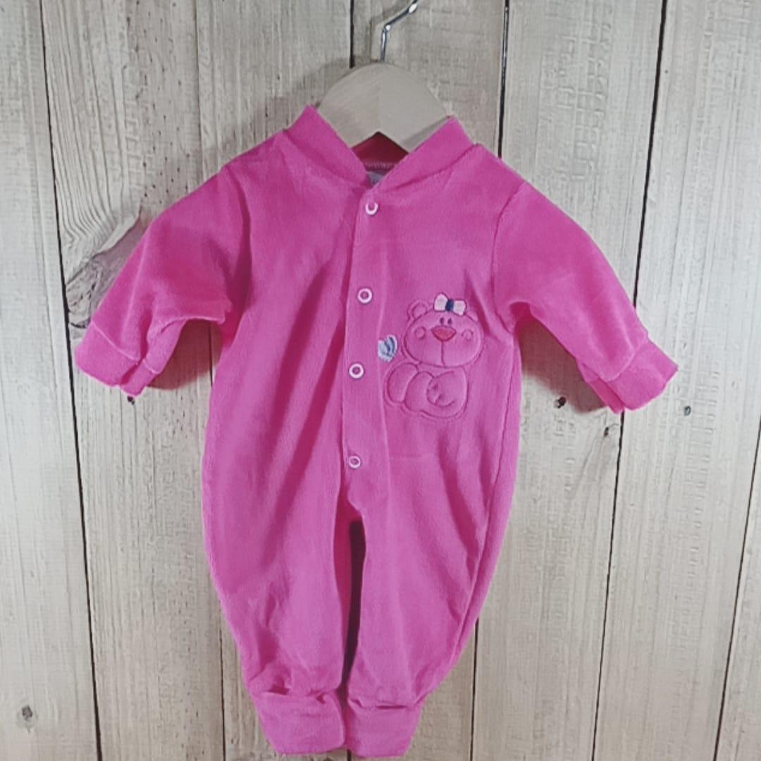 Macacão Plush para Bebê com Bordado Urso  na Frente  Pink