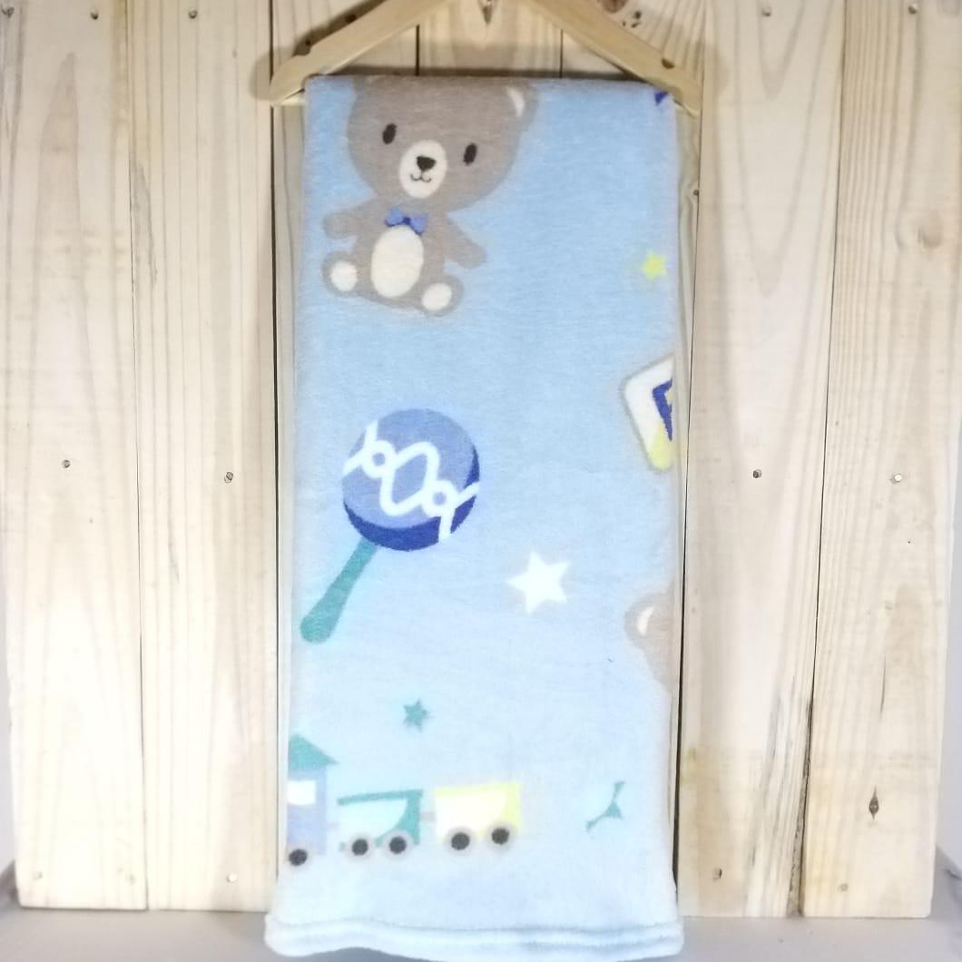 Manta Micro Fibra para Bebê Azul Bebê