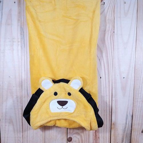 Manta para Bebê Amarelo  com Capuz Plush  Leãozinho
