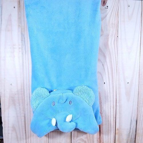Manta para Bebê com Capuz Plush Elefante  Azul Claro