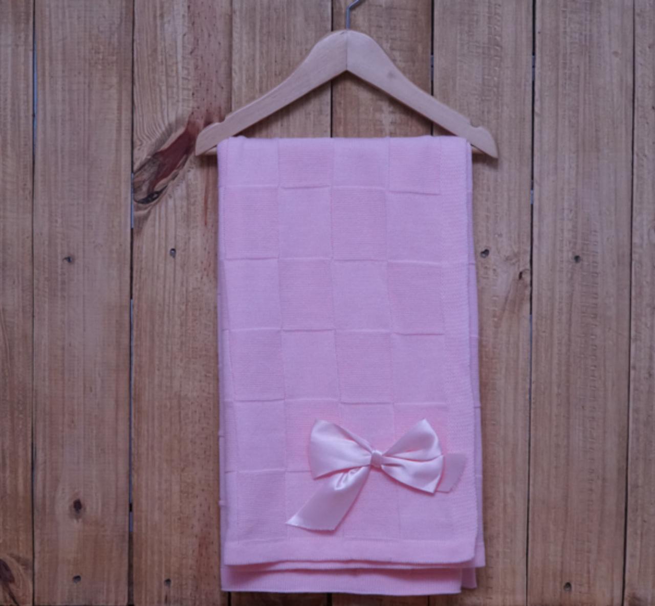 Manta para Bebê em Tricot  Quadrada  Rosa