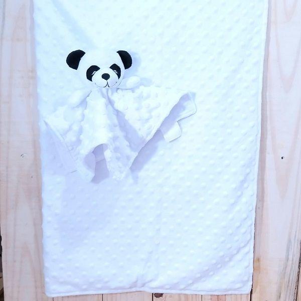 Manta para Bebê Fleece Dupla Face com Naninha Panda