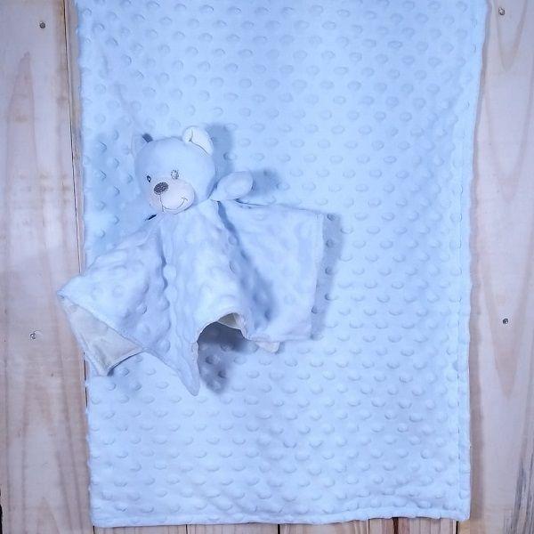 Manta para Bebê Fleece Dupla Face com Naninha Urso